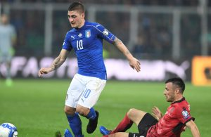 Football Soccer - Italy v Albania - World Cup 2018 Qualifiers - Group G - Renzo Barbera stadium, Palermo, Italy - 24/3/17. Italy's Marco Verratti is challenged by Albania's Ledian Menushaj in action. REUTERS/Alberto Lingria  ATTENTION EDITORS - EDITORIAL USE ONLY. NO RESALES. NO ARCHIVES.